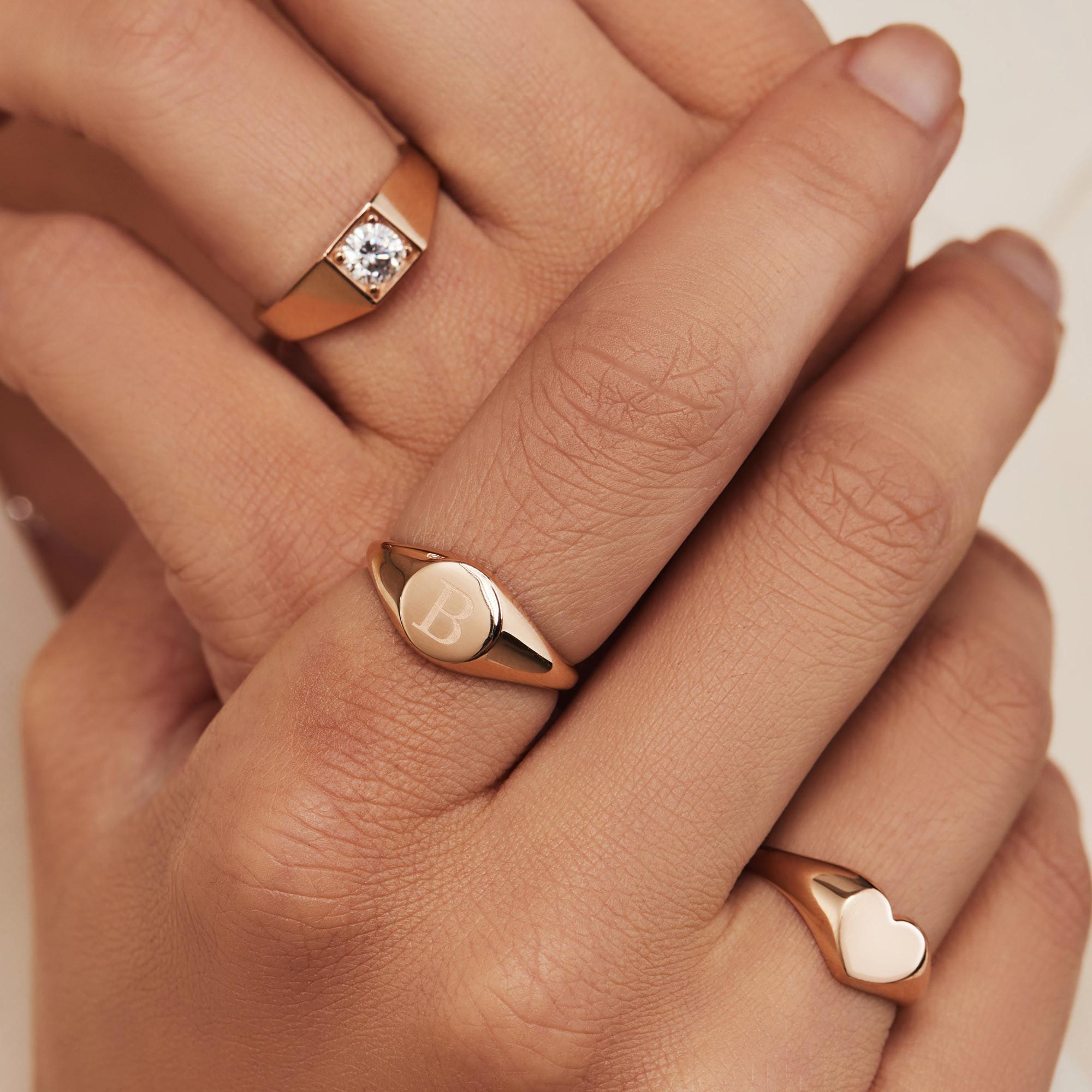 Isabel Bernard La Concorde Lauren 14 Karaat Rosé Gouden Initial Ring IB330036X (Letter: X)