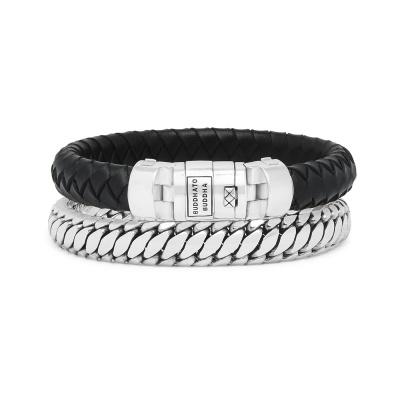Buddha to Buddha Leather Beads Bracelet,Set BTB008BL (Rozmiar: 17-21 cm)