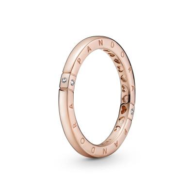 Pandora Signature Roségouden Logo & Hearts Stackable Ring 189482C01