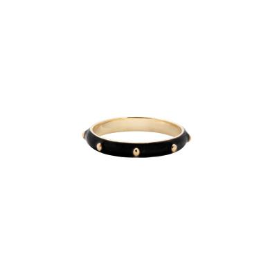ANNA + NINA 925 Sterling Zilveren Goudkleurige Dolly Ring Black