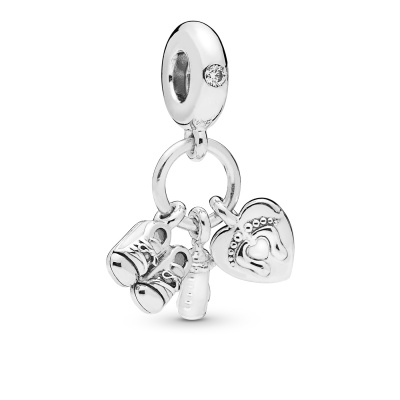 Pandora Moments 925 Sterling Zilveren Shoes Baby Bottle And Heart Bedel 798106CZ