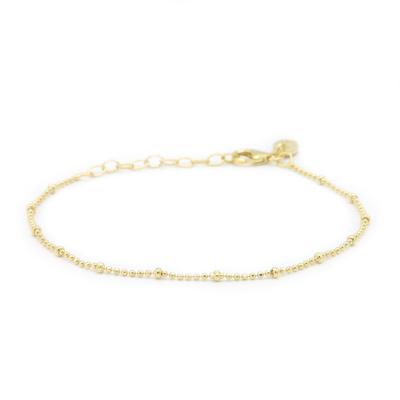 Karma 925 Sterling Zilver Goudkleurige Dots Diamonds Armband 94127GP (Lengte: 16.50 - 19.00 cm)