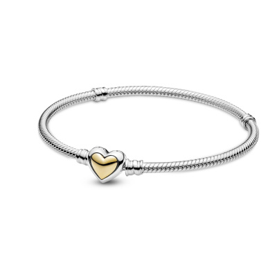 Pandora Passions Two Tone Domed Golden Heart Clasp Snake Chain Armband 599380C00 (Lengte: 17.00 - 21.00 cm)