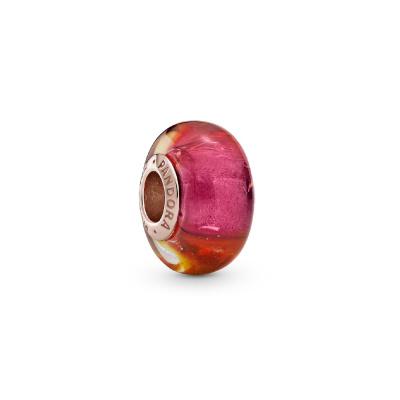 Pandora Places 925 Sterling Zilver Roségoudkleurige Glittering Sunset Murano Glass Bedel 789440C00