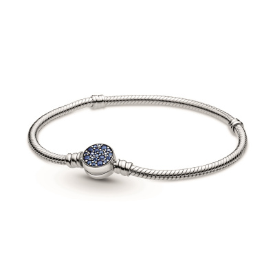 Pandora Colours 925 Sterling Zilveren Blue Disc Clasp Snake Chain Bracelet 599288C01