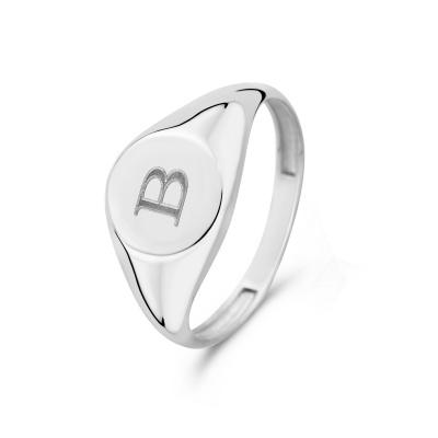 Isabel Bernard Saint Germain Lauren 14 Karaat Witgouden Initial Ring IB330035B (Letter: B)