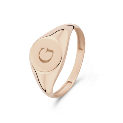 Isabel Bernard La Concorde Lauren 14 Karaat Rosé Gouden Initial Ring IB330036G (Letter: G)
