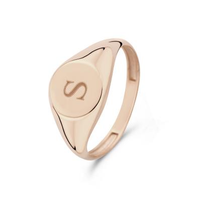 Isabel Bernard La Concorde Lauren 14 Karaat Rosé Gouden Initial Ring IB330036S (Letter: S)