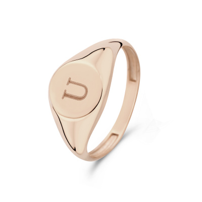 Isabel Bernard La Concorde Lauren 14 Karaat Rosé Gouden Initial Ring IB330036U (Letter: U)