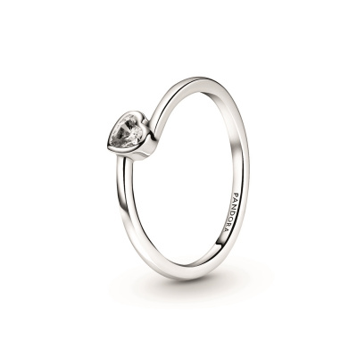 Pandora People 925 Sterling Zilveren Heart Solitaire Ring 199267C02