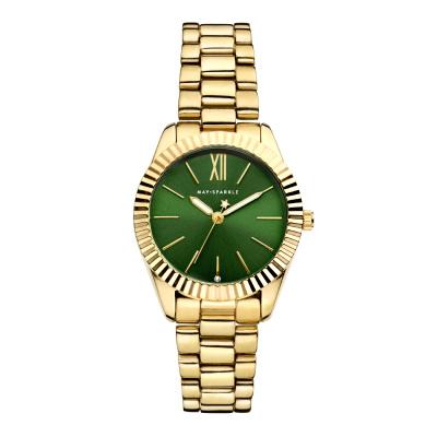 May Sparkle Luxurious Life Birdie Goudkleurig/Groen horloge MSA012