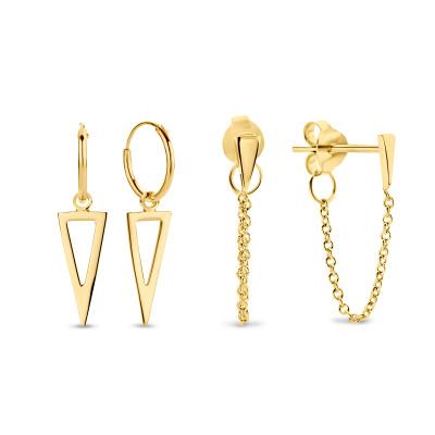 Selected Jewels Selected Gifts 925 sterling zilveren goudkleurige set oorbellen SJSET380004