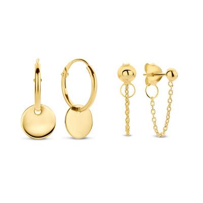 Selected Jewels Selected Gifts 925 sterling zilveren goudkleurige set oorbellen SJSET380005