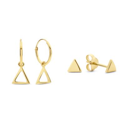 Selected Gifts 925 Sterling Zilveren Goudkleurige Set Oorbellen SJSET380015