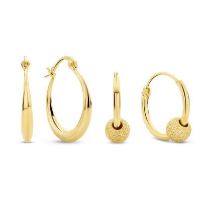 Selected Gifts 925 Sterling Zilveren Goudkleurige Set Oorbellen SJSET380022