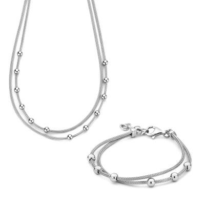 Selected Gifts 925 Sterling Zilveren Ketting en Armband Set SJSET380023