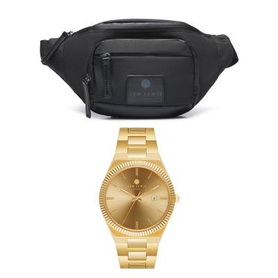 Sem's Present Zwarte Heuptas Met Goudkleurig Horloge Giftset SL90010